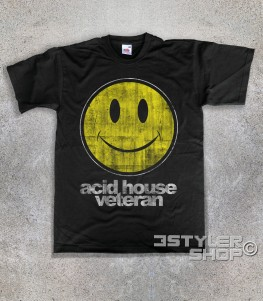 acid house veteran t-shirt uomo con smile stilizzato