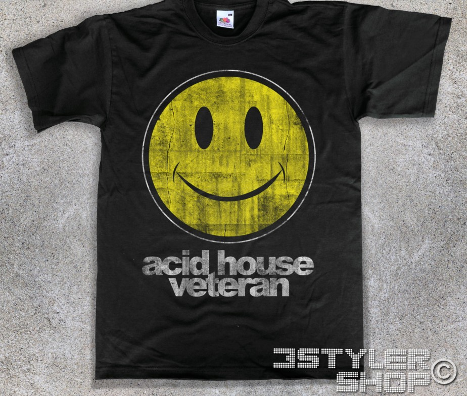 Acid house veteran t shirt uomo smile for Acid house soundtrack