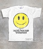 acid house veteran t-shirt uomo con smile stilizzato