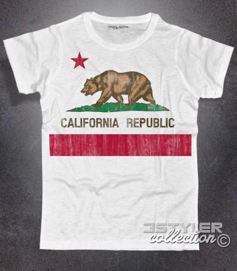 Bandiera California t-shirt uomo rappresentante la versione antichizzata della Bear Flag