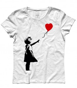 balloon girl t-shirt donna Banksy
