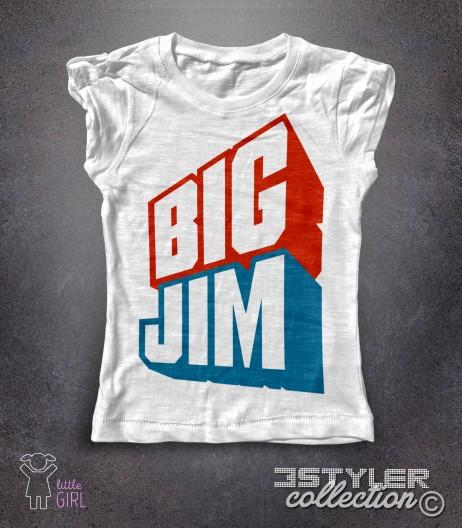 big jim t-shirt bambina bianca raffigurante il celebre logo azzurro e rosso del giocattolo cult della mattel