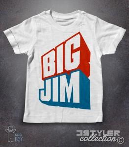 big jim t-shirt bambino bianca raffigurante il celebre logo azzurro e rosso del giocattolo cult della mattel