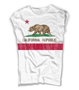 Bandiera California t-shirt donna rappresentante la versione antichizzata della Bear Flag