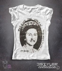 sex pistols t-shirt bambina bianca raffigurante una queen elisabeth in versione punk