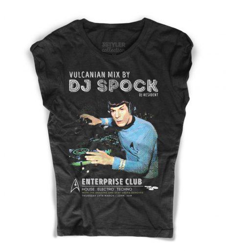 Dj Spock t-shirt donna nera raffigurante Spock di Star Trek in versione dj