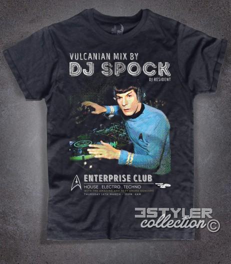 Dj Spock t-shirt uomo nera raffigurante Spock di Star Trek in versione dj