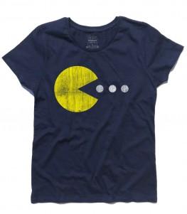 pac man t-shirt bambino raffigurante pac man che cerca di mangiare tre pillole