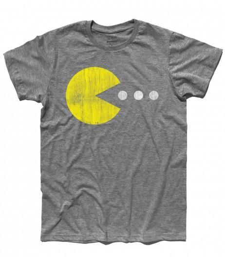 pac man t-shirt uomo raffigurante pac man che cerca di mangiare tre pillole