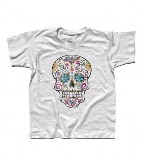 teschio messicano t-shirt bambino con stampato un teschio messicano antichizzato