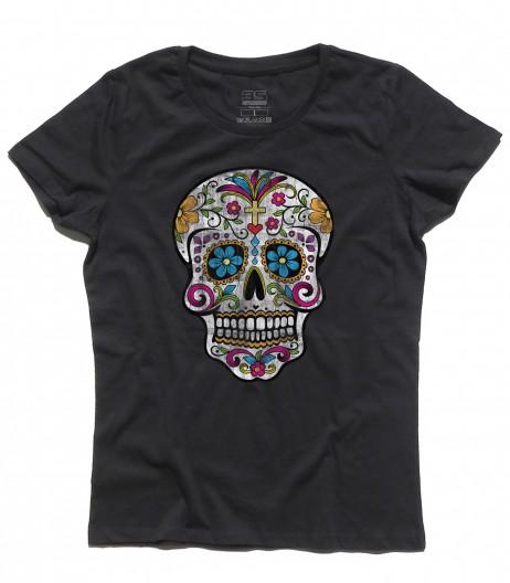 teschio messicano t-shirt donna con stampato un teschio messicano antichizzato