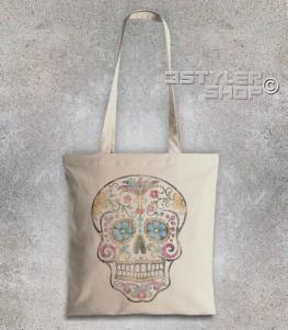 teschio messicano borsa shopper con stampato un teschio messicano antichizzato