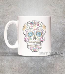 teschio messicano tazza mug con stampato un teschio messicano antichizzato