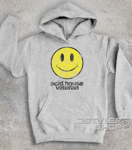 acid house veteran felpa bambino con smile antichizzato
