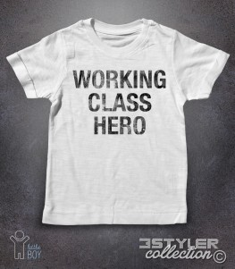 working class hero t-shirt bambino con scritta