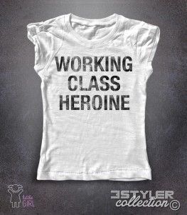 working class heroine t-shirt bambina con scritta