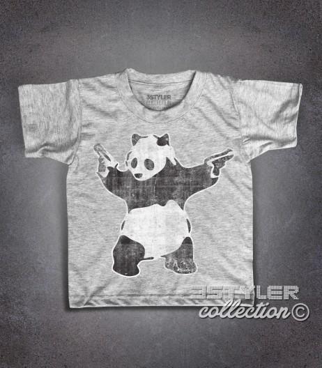 panda pistole t-shirt bambino raffigurante l'opera panda with guns di banksy