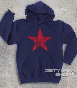 stella rossa felpa bambino raffigurante una stella rossa in versione antichizzata