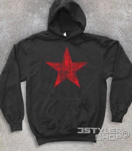 stella rossa felpa unisex raffigurante una stella rossa in versione antichizzata