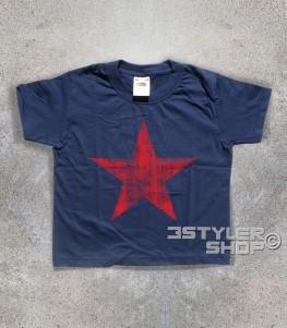 stella rossa t-shirt bambino raffigurante una stella rossa in versione antichizzata