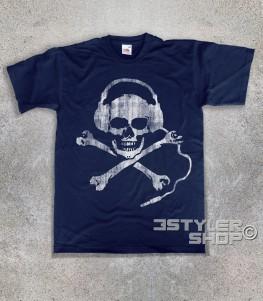 teschio dj t-shirt uomo dj skull raffigurante un teschio antichizzato con le cuffie da dj