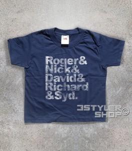 Pink Floyd t-shirt bambino coi nomi antichizzati dei componenti: Roger, Nick, David, Richard e Syd