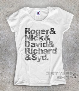 Pink Floyd t-shirt donna coi nomi antichizzati dei componenti: Roger, Nick, David, Richard e Syd