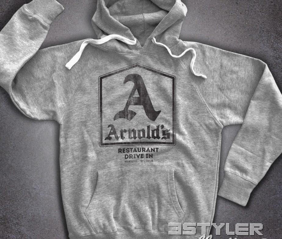 Arnold's felpa uomo hoodie ispirata al drive-in dove si riunivano i  protagonisti di Happy
