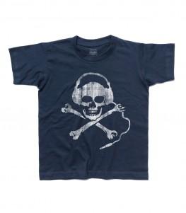 teschio dj t-shirt bambino dj skull raffigurante un teschio antichizzato con le cuffie da dj
