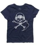 teschio dj t-shirt donna dj skull raffigurante un teschio antichizzato con le cuffie da dj