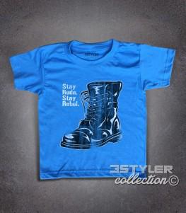 stay rude stay rebel t-shirt bambino raffigurante un anfibio antichizzato in stile skinhead