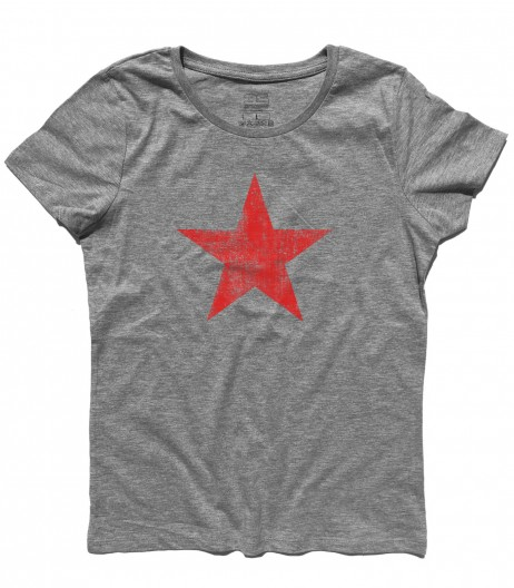 stella rossa t-shirt donna raffigurante una stella rossa in versione antichizzata