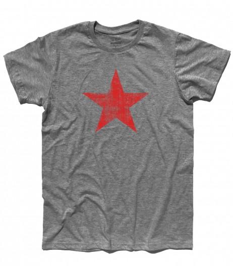 stella rossa t-shirt uomo raffigurante una stella rossa in versione antichizzata