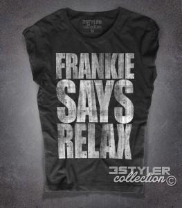 frankie says relax t-shirt donna nera in cotone fiammato con stampa antichizzata