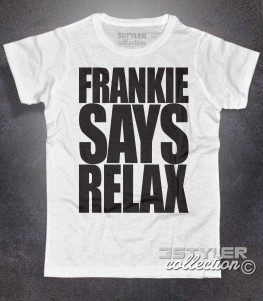 frankie says relax t-shirt uomo bianca in cotone fiammato ispirata al singolo dei Frankie goes to Hollywood