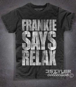 frankie says relax t-shirt uomo nera in cotone fiammato con stampa antichizzata