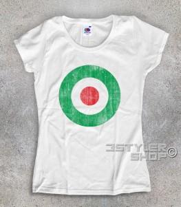 target italia t-shirt donna raffigurante un target con i colori della bandiera italiana e in versione antichizzata
