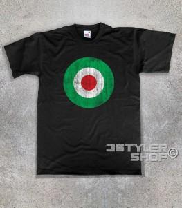 target italia t-shirt uomo raffigurante un target con i colori della bandiera italiana e in versione antichizzata