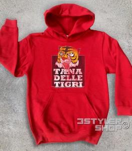 """uomo tigre felpa bambino raffigurante la maschera dell'uomo tigre e la scritta """"tana delle tigri"""""""