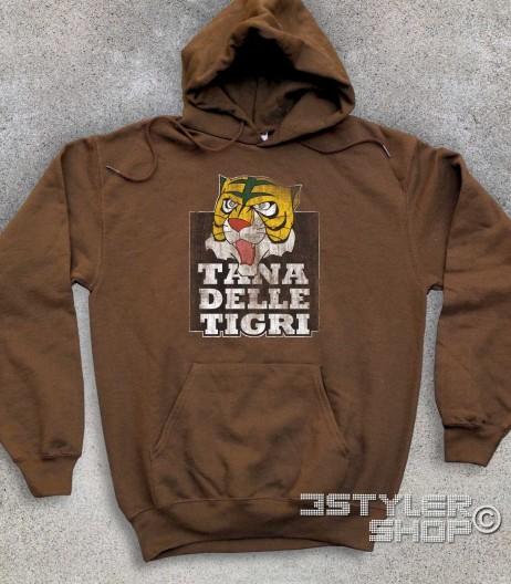 """uomo tigre felpa unisex raffigurante la maschera dell'uomo tigre e la scritta """"tana delle tigri"""""""