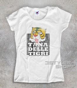 """uomo tigre t-shirt donna raffigurante la maschera dell'uomo tigre e la scritta """"tana delle tigri"""""""