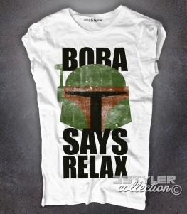 Boba fett t-shirt donna bianca con scritta Boba says relax