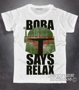 Boba fett t-shirt uomo bianca con scritta Boba says relax