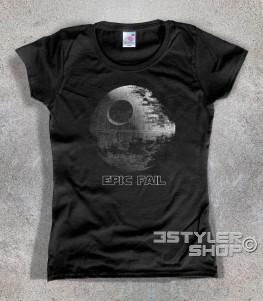 morte nera t-shirt donna raffigurante la stazione spaziale dell'imperatore di guerre stellari