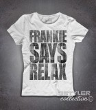 Frankie says relax t-shirt donna vintage ispirata al singolo dei Frankie goes to hollywood