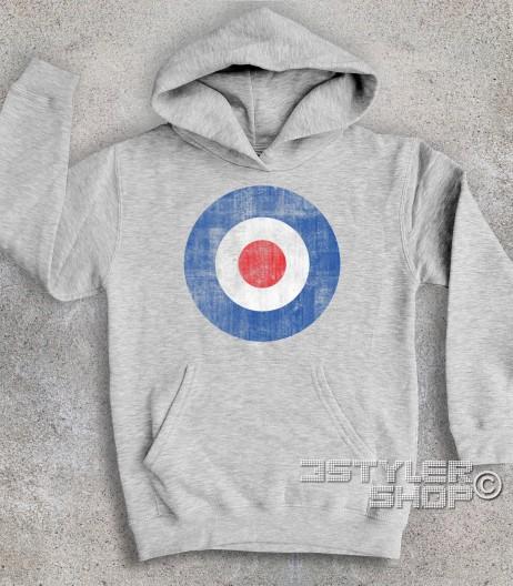 target mods felpa bambino raffigurante il classico simbolo dei Mods in versione antichizzata
