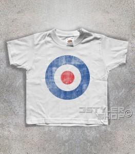 target mods t-shirt bambino raffigurante il classico simbolo dei Mods in versione antichizzata