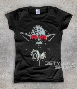 yoda dj t-shirt donna raffigurante il maestro jedi con le cuffie da dj