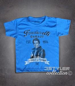 Fonzie t-shirt bambino raffigurante Fonzie e la scritta Garage Fonzarelli