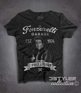 The Fonz t-shirt donna raffigurante Fonzie e la scritta Garage Fonzarelli